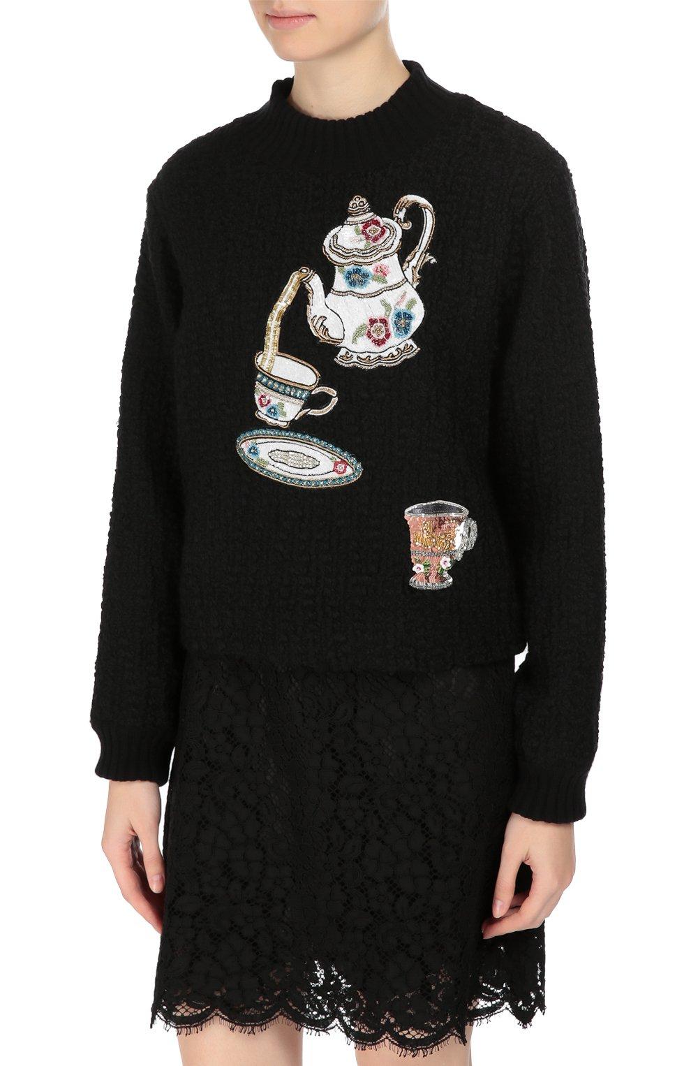 Пуловер фактурной вязки с вышивкой пайетками | Фото №3