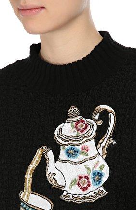 Пуловер фактурной вязки с вышивкой пайетками | Фото №5
