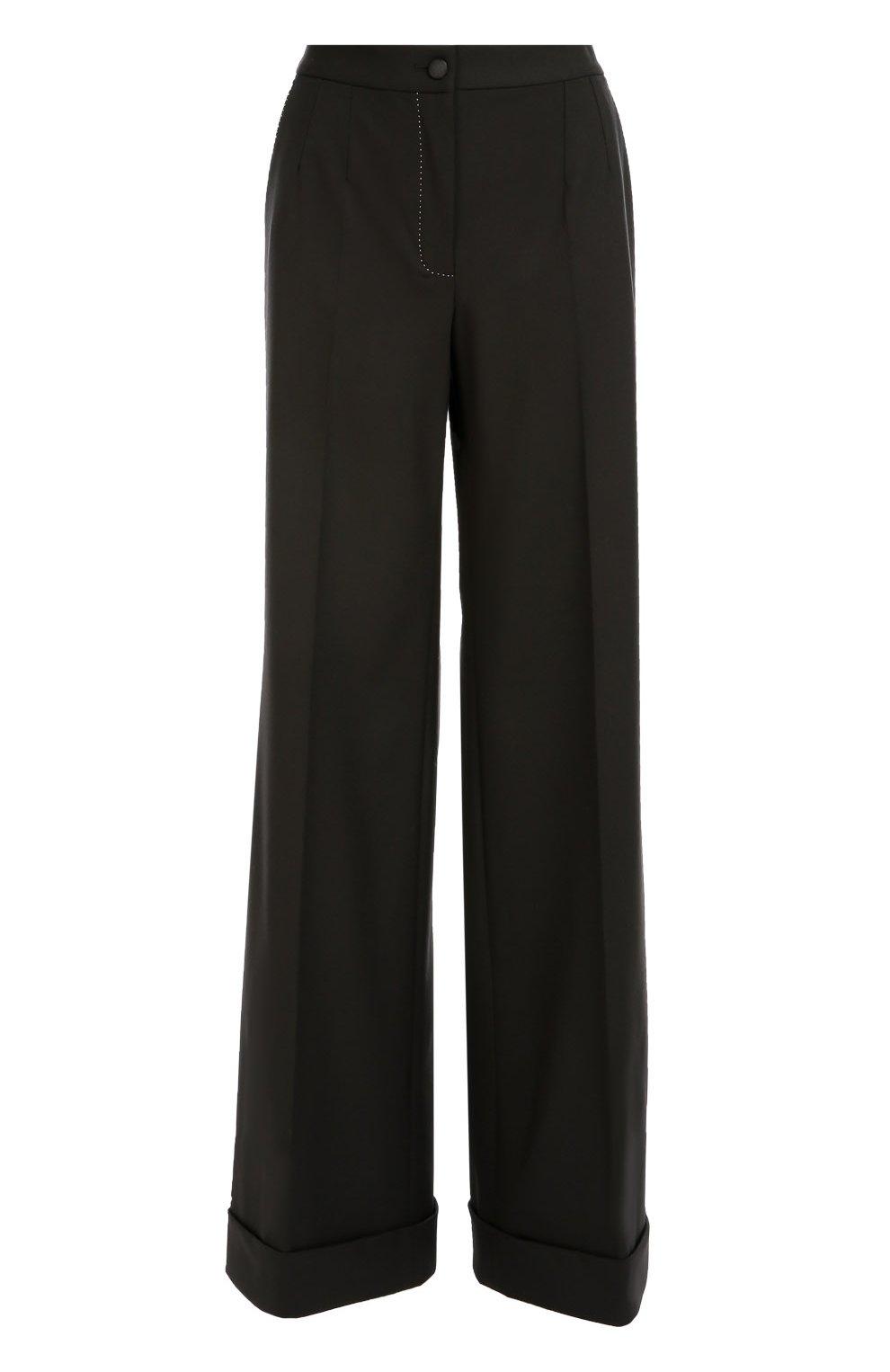 Шерстяные широкие брюки с контрастной прострочкой | Фото №1