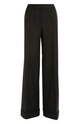 Шерстяные широкие брюки с контрастной прострочкой Dolce & Gabbana черные | Фото №1