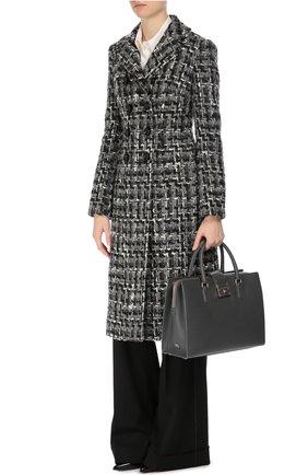 Шерстяные широкие брюки с контрастной прострочкой Dolce & Gabbana черные | Фото №2