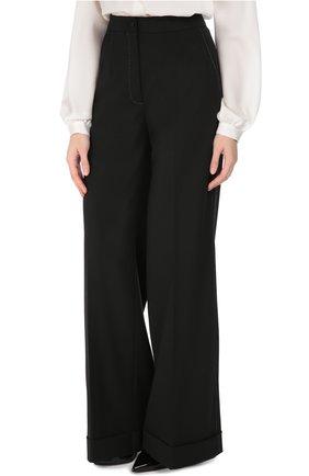 Шерстяные широкие брюки с контрастной прострочкой Dolce & Gabbana черные | Фото №3