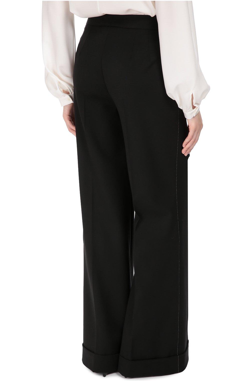 Шерстяные широкие брюки с контрастной прострочкой Dolce & Gabbana черные | Фото №4
