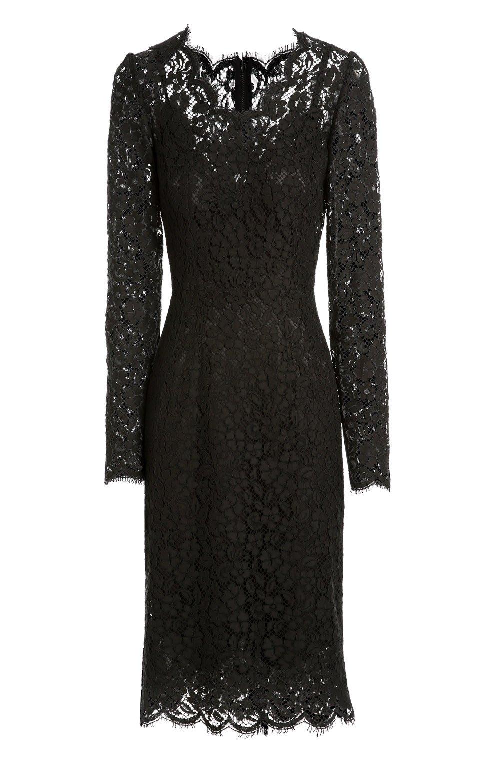 Приталенное кружевное платье с длинным рукавом | Фото №1