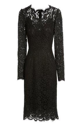 Приталенное кружевное платье с длинным рукавом Dolce & Gabbana черное | Фото №1
