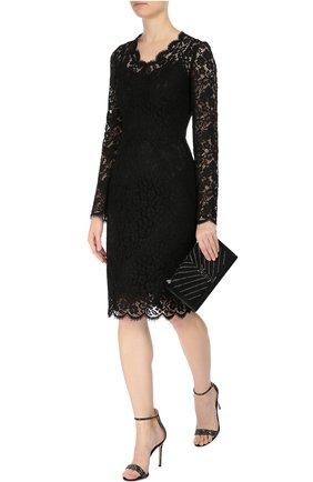 Приталенное кружевное платье с длинным рукавом Dolce & Gabbana черное | Фото №2