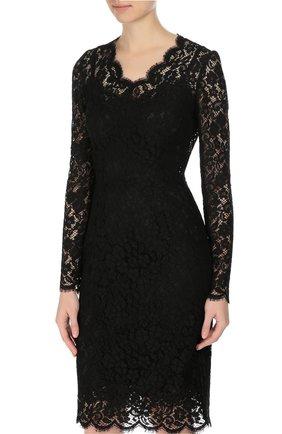 Приталенное кружевное платье с длинным рукавом Dolce & Gabbana черное | Фото №3