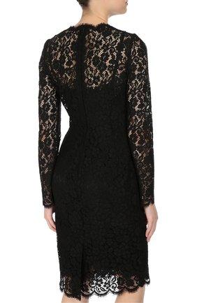 Приталенное кружевное платье с длинным рукавом Dolce & Gabbana черное | Фото №4
