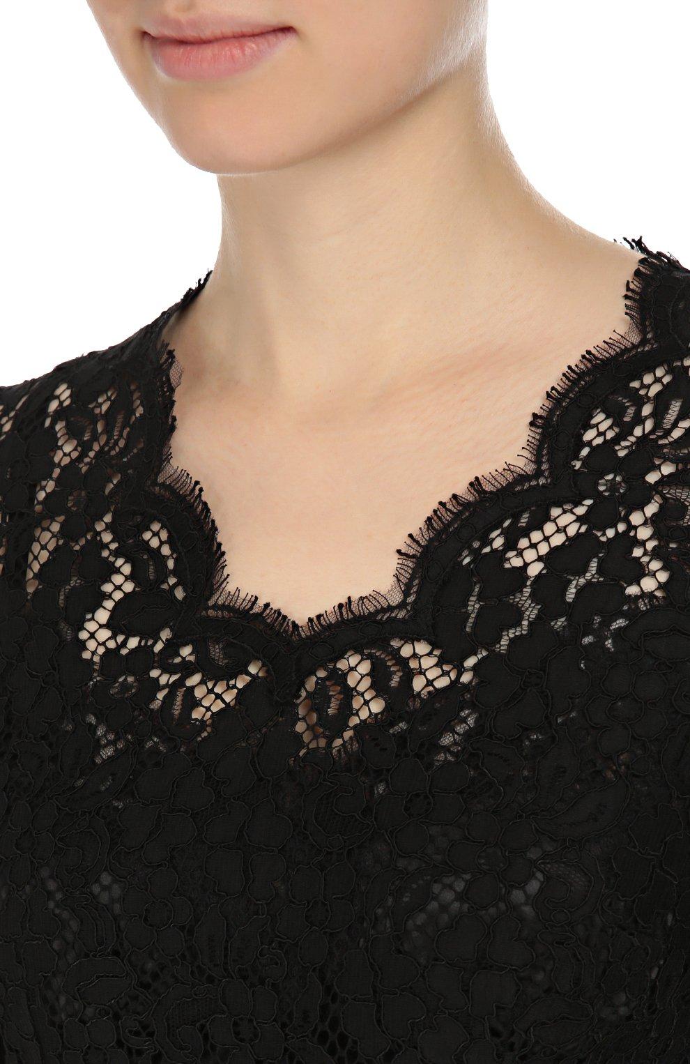 Приталенное кружевное платье с длинным рукавом Dolce & Gabbana черное | Фото №5