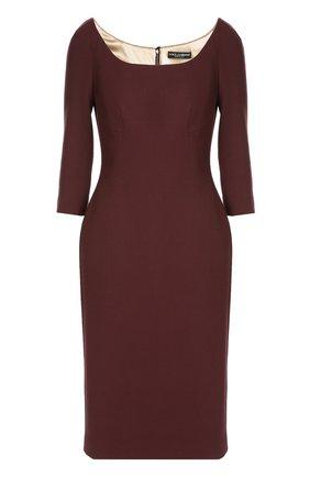 Платье-футляр с укороченным рукавом и вырезом-лодочка Dolce & Gabbana бордовое | Фото №1