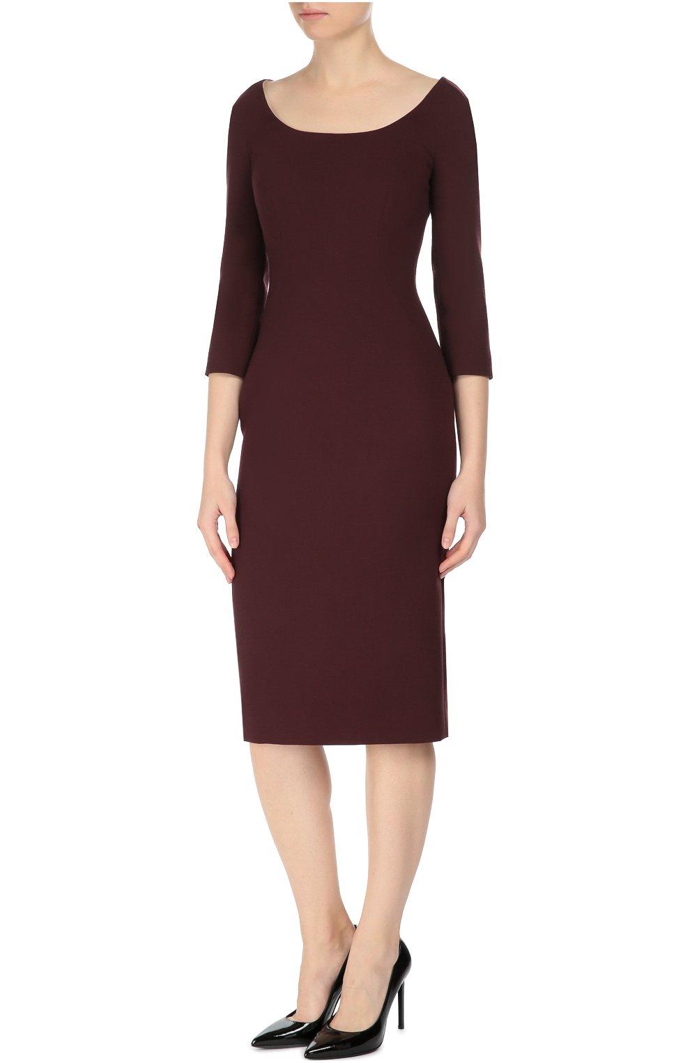 Платье-футляр с укороченным рукавом и вырезом-лодочка Dolce & Gabbana бордовое | Фото №3