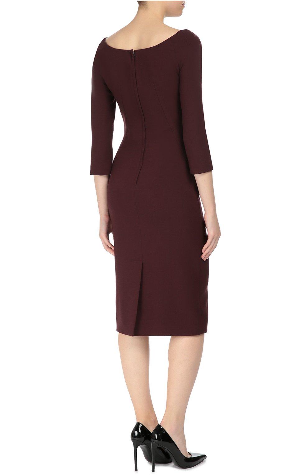Платье-футляр с укороченным рукавом и вырезом-лодочка Dolce & Gabbana бордовое | Фото №4