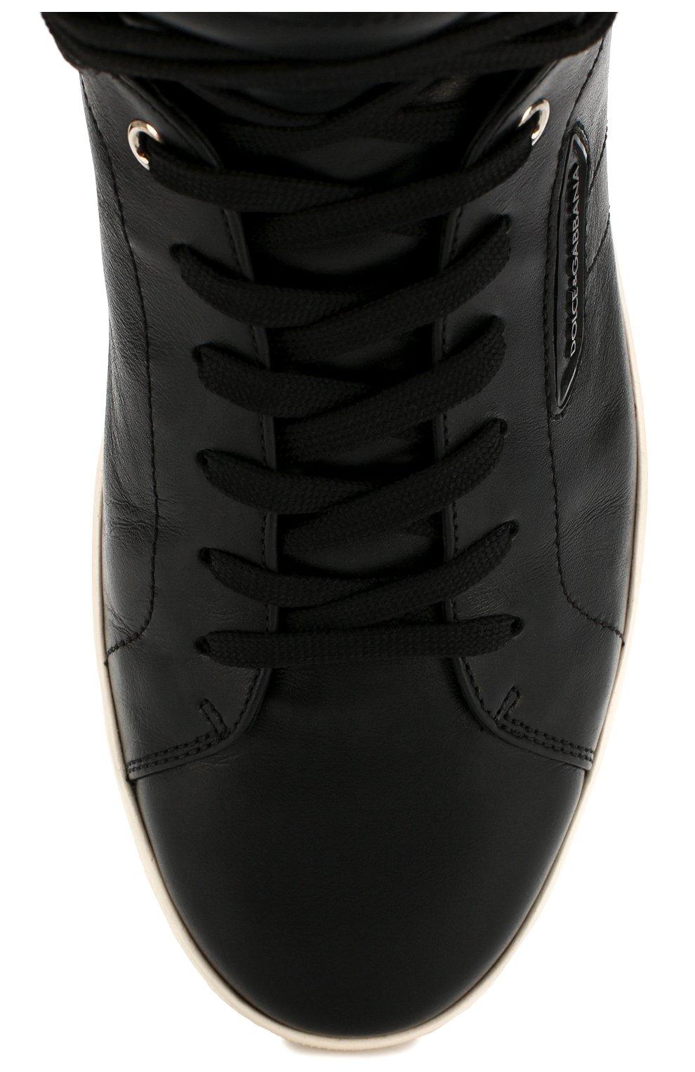 Высокие кожаные кеды London на шнуровке   Фото №5