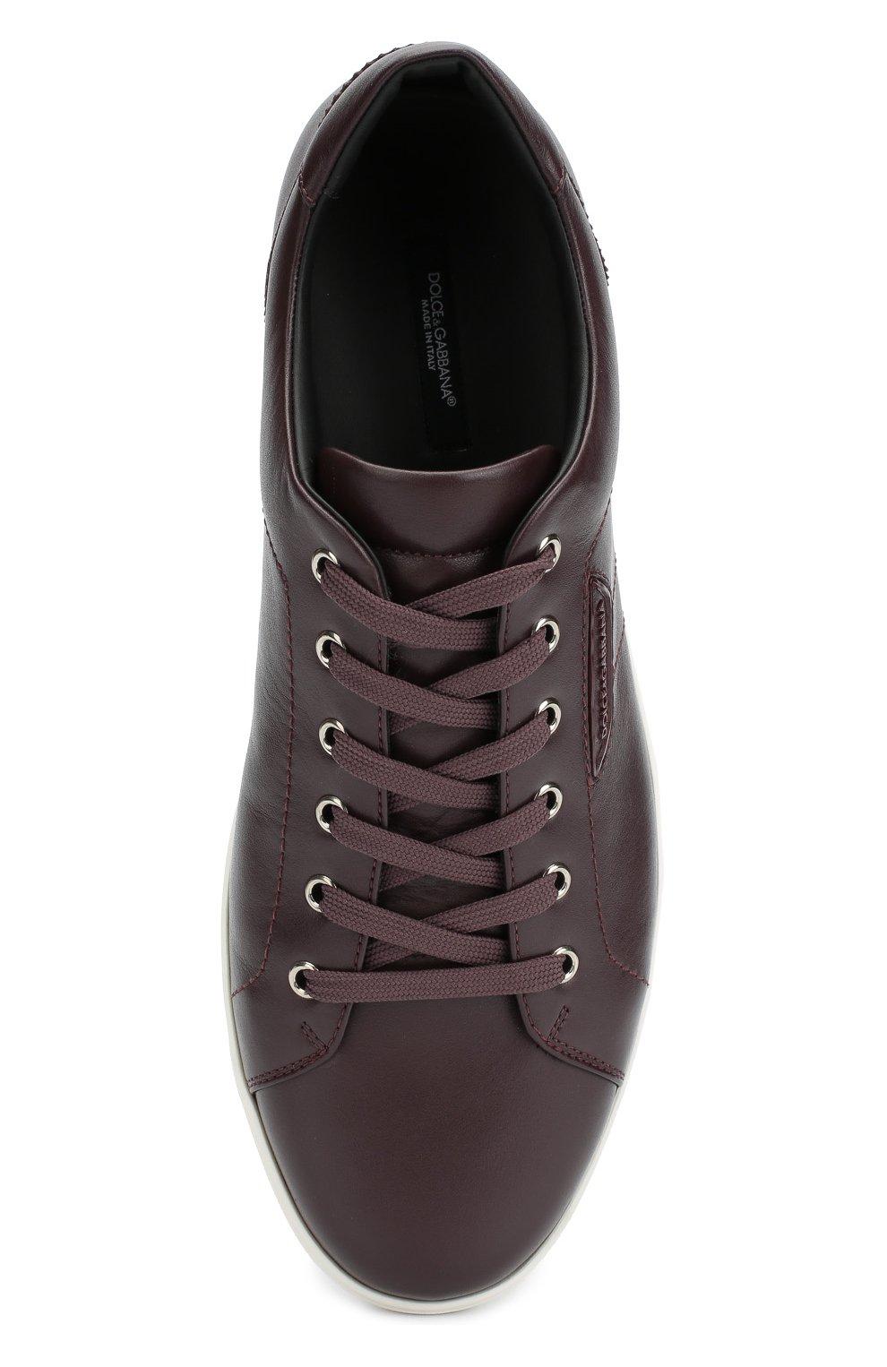 Кожаные кеды London на шнуровке Dolce & Gabbana темно-фиолетовые | Фото №6