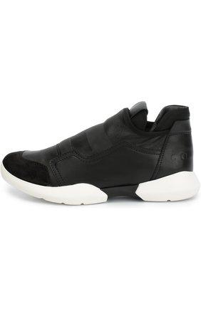 Комбинированные кроссовки на контрастной подошве | Фото №1
