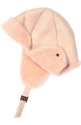Детского шапка из овчины PETIT NORD розового цвета, арт. 2101   Фото 2 (Материал: Кожа, Натуральный мех, Овчина; Статус проверки: Проверена категория, Проверено)