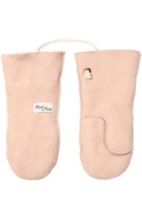 Детские кожаные варежки с отделкой мехом PETIT NORD розового цвета, арт. 2112   Фото 2