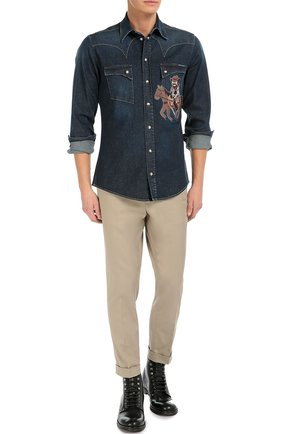 Джинсовая рубашка с вышивкой | Фото №4
