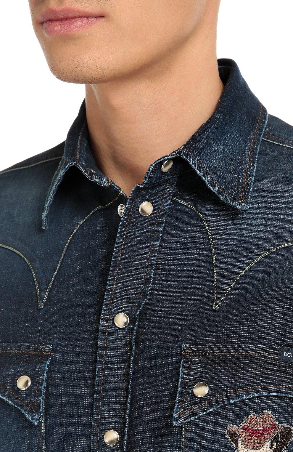 Джинсовая рубашка с вышивкой | Фото №5