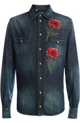 Джинсовая рубашка с вышивкой Dolce & Gabbana синяя | Фото №1