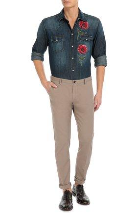 Джинсовая рубашка с вышивкой Dolce & Gabbana синяя | Фото №2