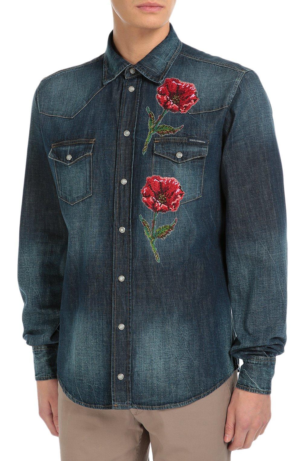 Джинсовая рубашка с вышивкой Dolce & Gabbana синяя | Фото №3