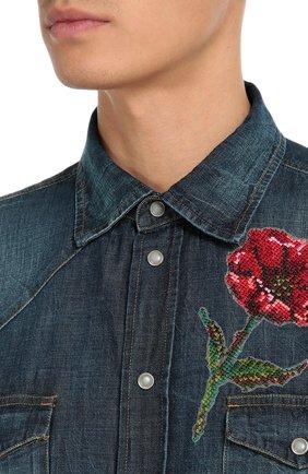 Джинсовая рубашка с вышивкой Dolce & Gabbana синяя | Фото №5