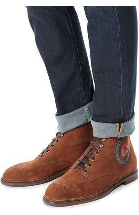 Замшевые ботинки Marsala с брогированием и аппликацией Dolce & Gabbana коричневые | Фото №2