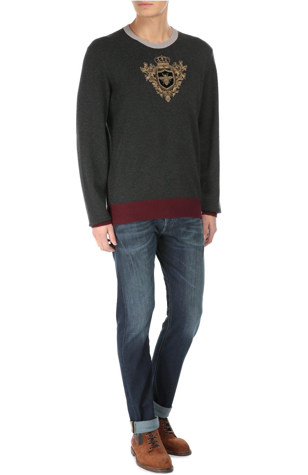 Замшевые ботинки Marsala с брогированием и аппликацией Dolce & Gabbana коричневые | Фото №3