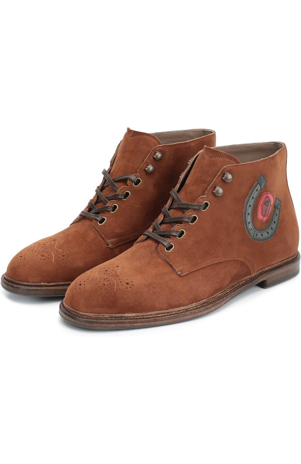Замшевые ботинки Marsala с брогированием и аппликацией Dolce & Gabbana коричневые | Фото №4