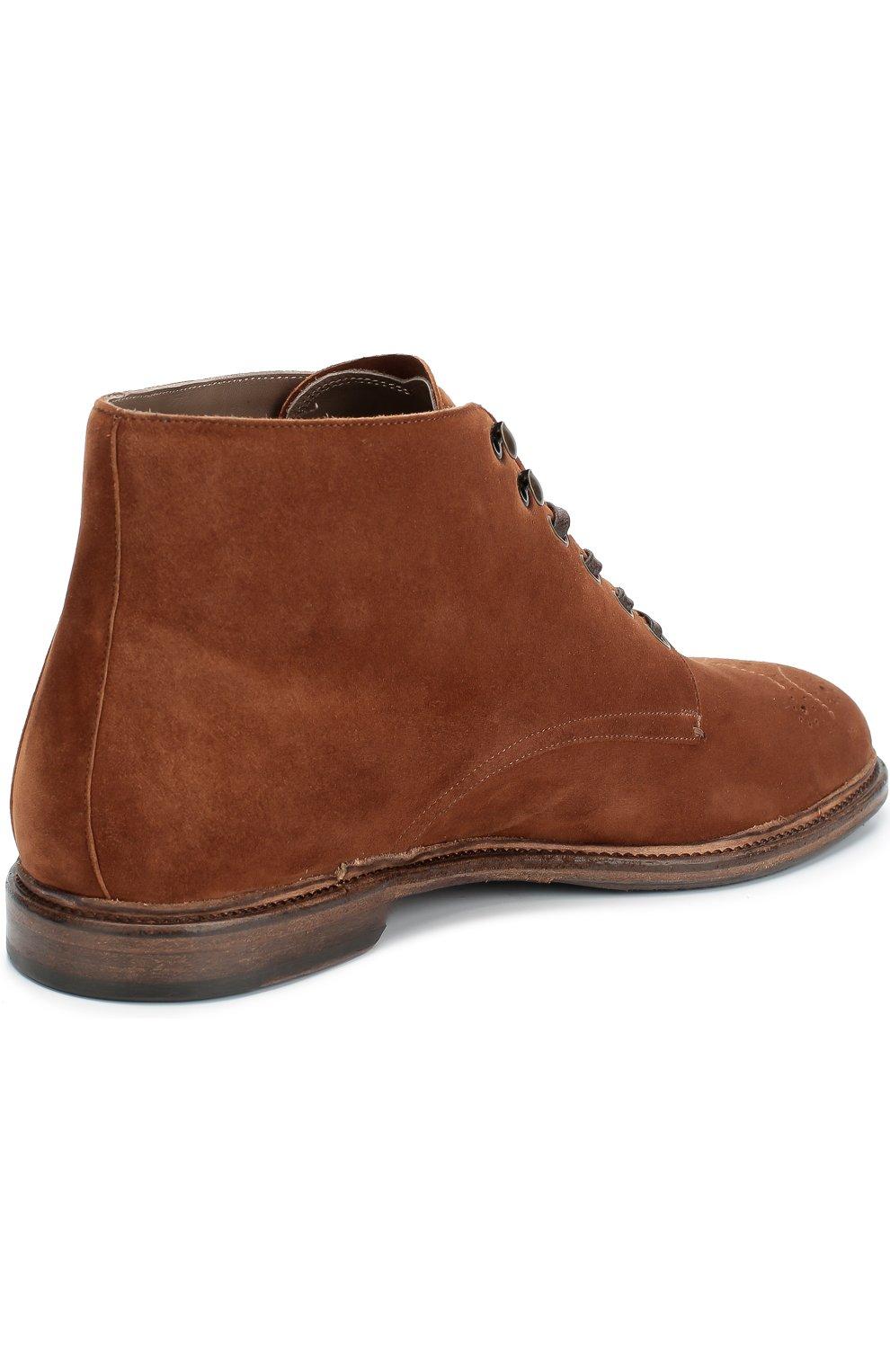 Замшевые ботинки Marsala с брогированием и аппликацией Dolce & Gabbana коричневые | Фото №5