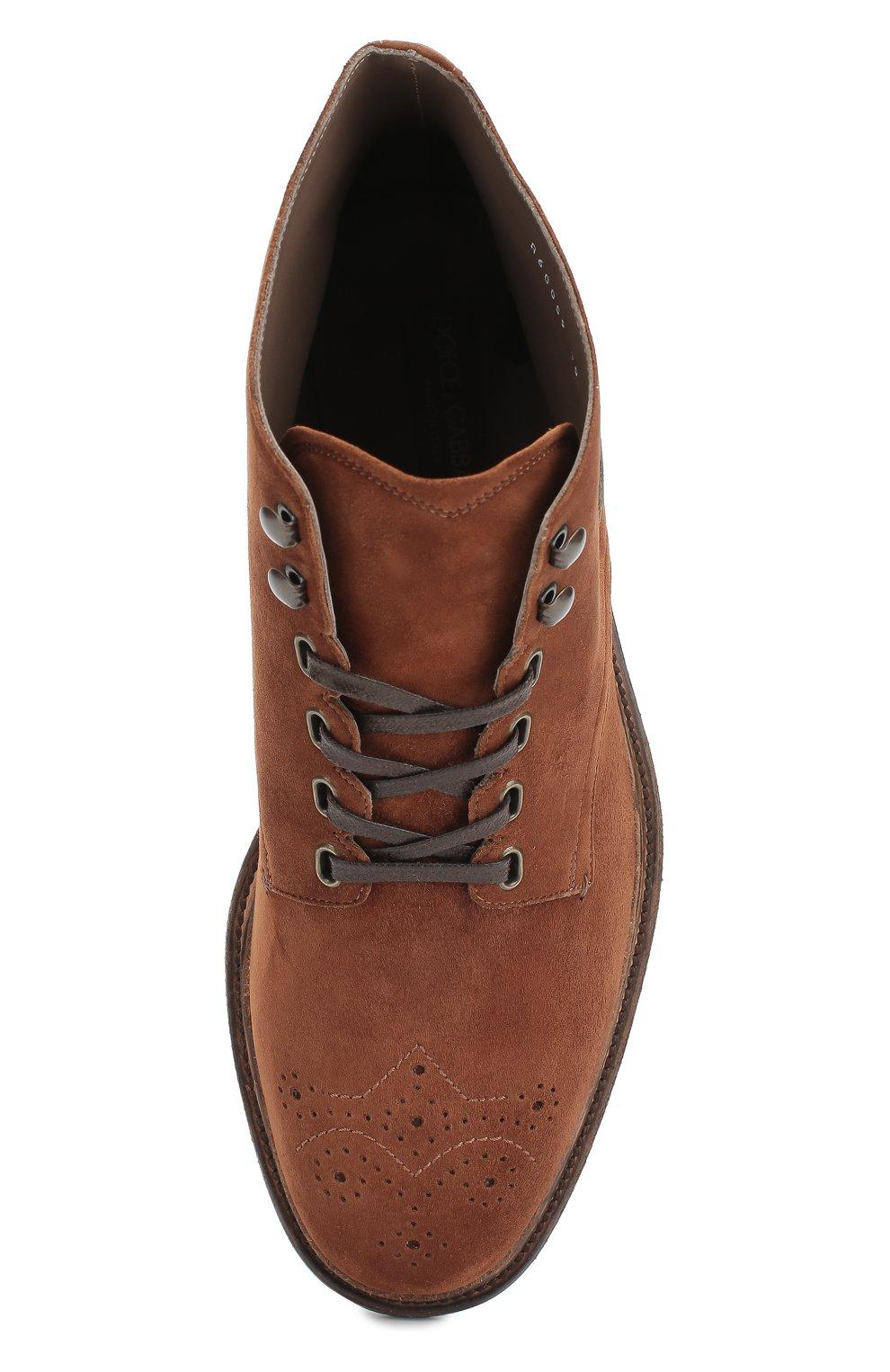Замшевые ботинки Marsala с брогированием и аппликацией Dolce & Gabbana коричневые | Фото №6