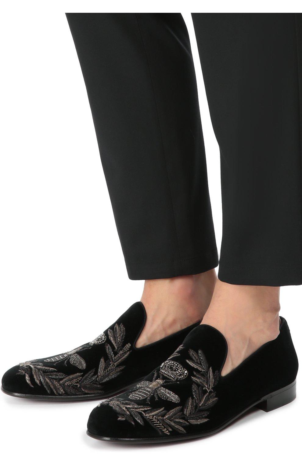 Бархатные слиперы Milano с вышивкой Dolce & Gabbana черные | Фото №2