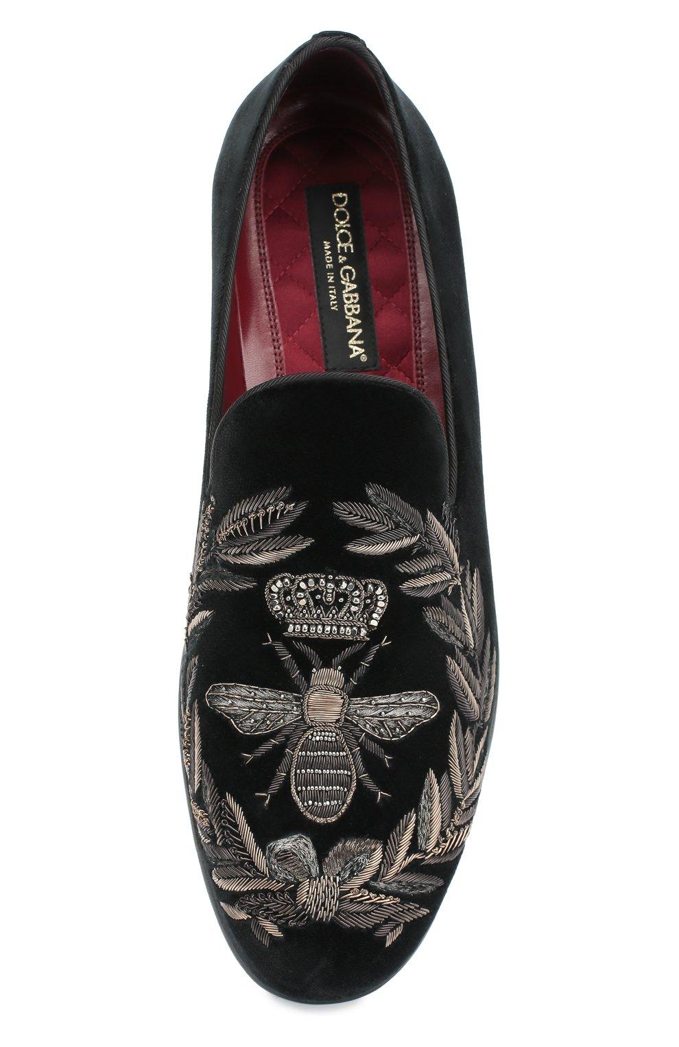 Бархатные слиперы Milano с вышивкой Dolce & Gabbana черные | Фото №6