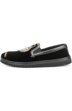 Бархатные слипоны Mondello с вышивкой Dolce & Gabbana черные   Фото №1