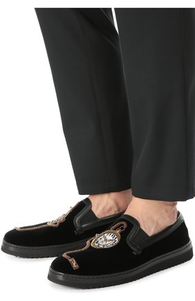 Бархатные слипоны Mondello с вышивкой Dolce & Gabbana черные   Фото №2