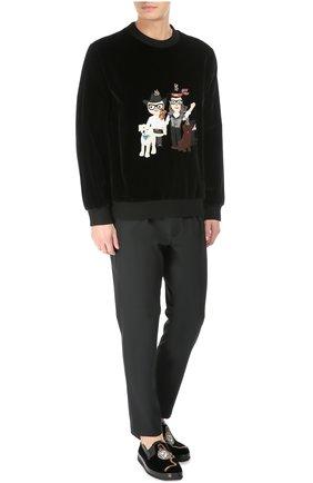 Бархатные слипоны Mondello с вышивкой Dolce & Gabbana черные   Фото №3