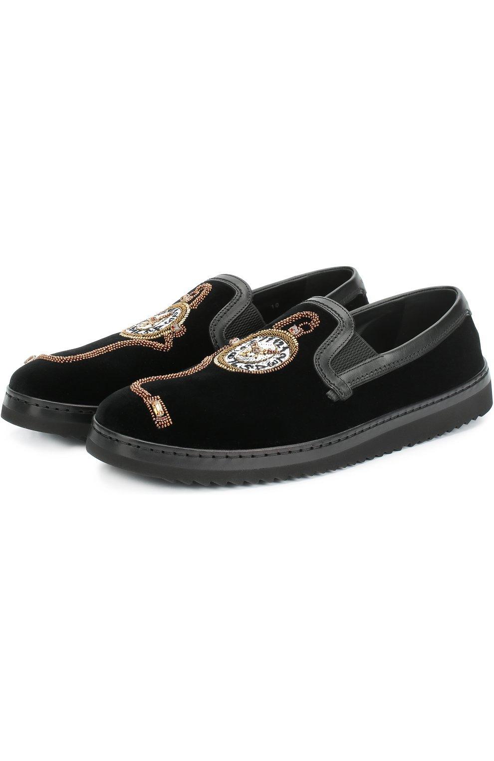 Бархатные слипоны Mondello с вышивкой Dolce & Gabbana черные   Фото №4