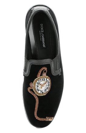 Бархатные слипоны Mondello с вышивкой Dolce & Gabbana черные   Фото №6
