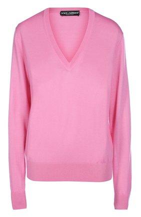 Кашемировый пуловер прямого кроя с V-образным вырезом Dolce & Gabbana розовый   Фото №1