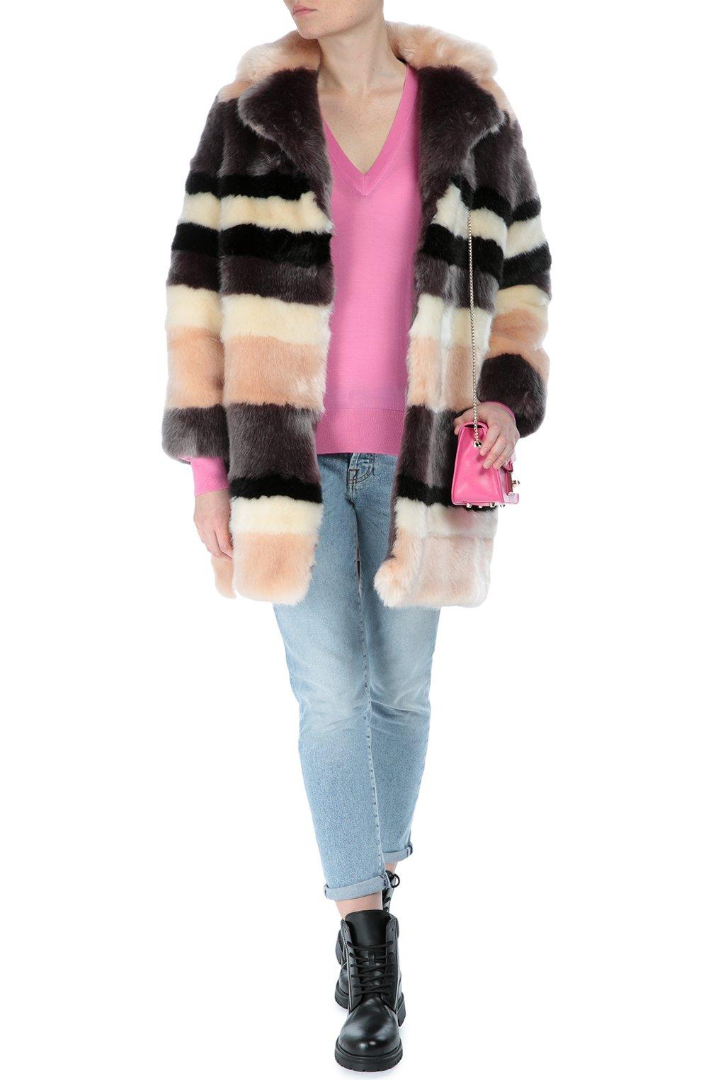 Кашемировый пуловер прямого кроя с V-образным вырезом Dolce & Gabbana розовый   Фото №2