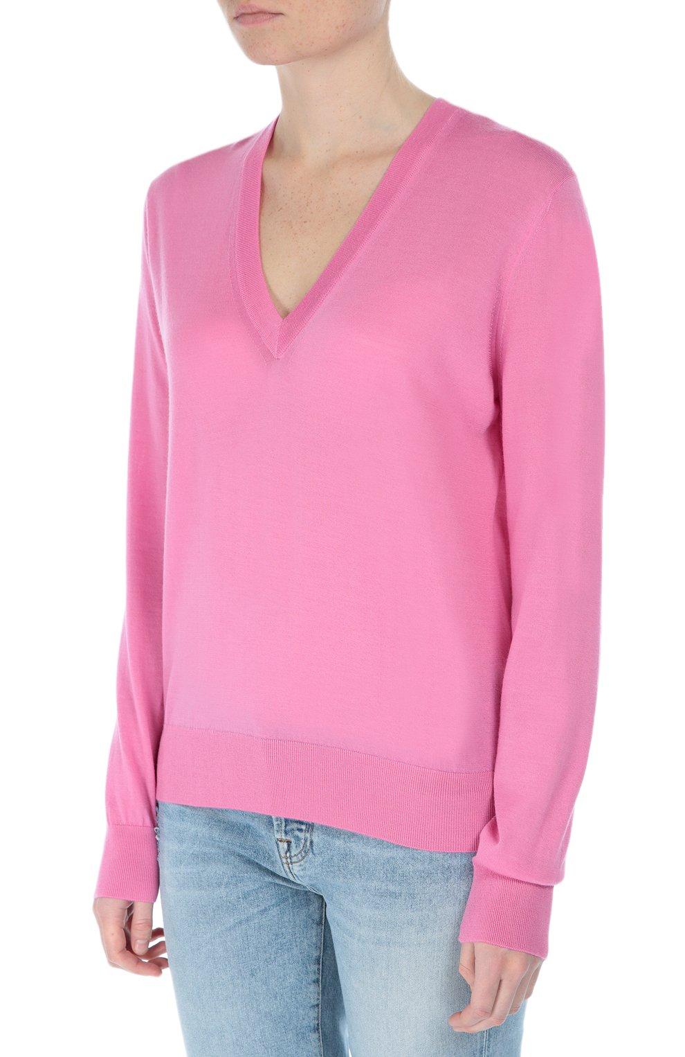 Кашемировый пуловер прямого кроя с V-образным вырезом Dolce & Gabbana розовый   Фото №3