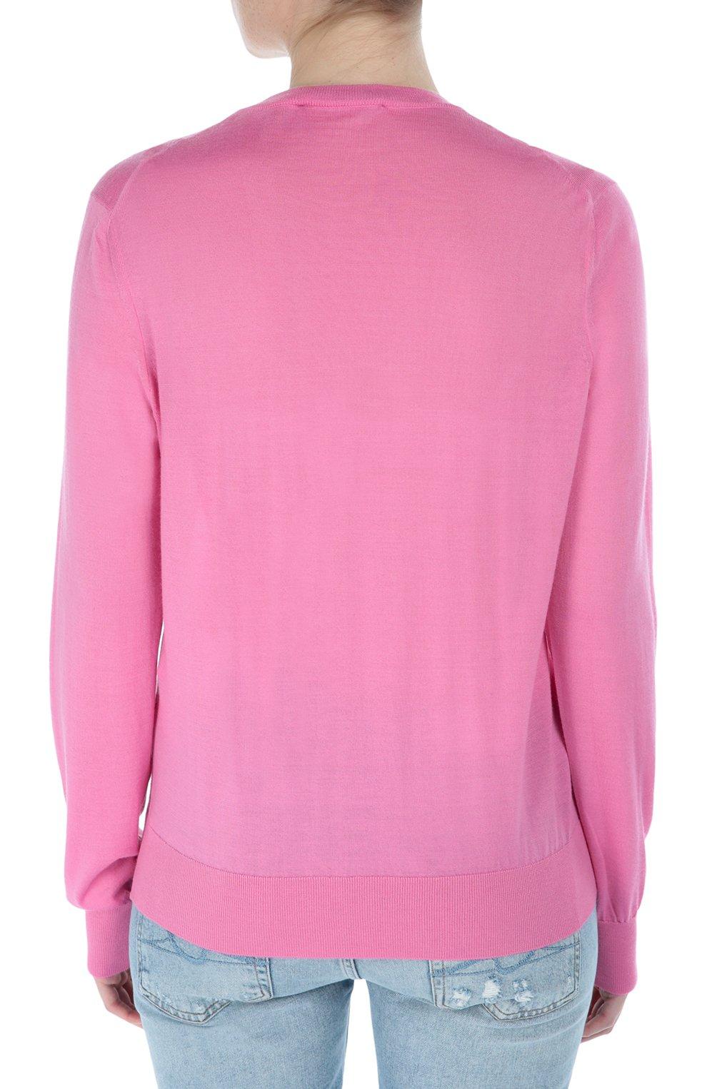 Кашемировый пуловер прямого кроя с V-образным вырезом Dolce & Gabbana розовый   Фото №4