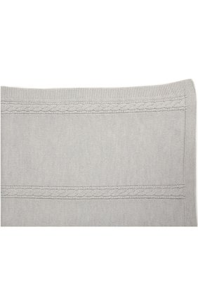 Одеяло из шерсти фактурной вязки Baby T серого цвета | Фото №1