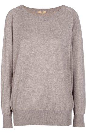 Пуловер свободного кроя с круглым вырезом Back Label бежевый | Фото №1
