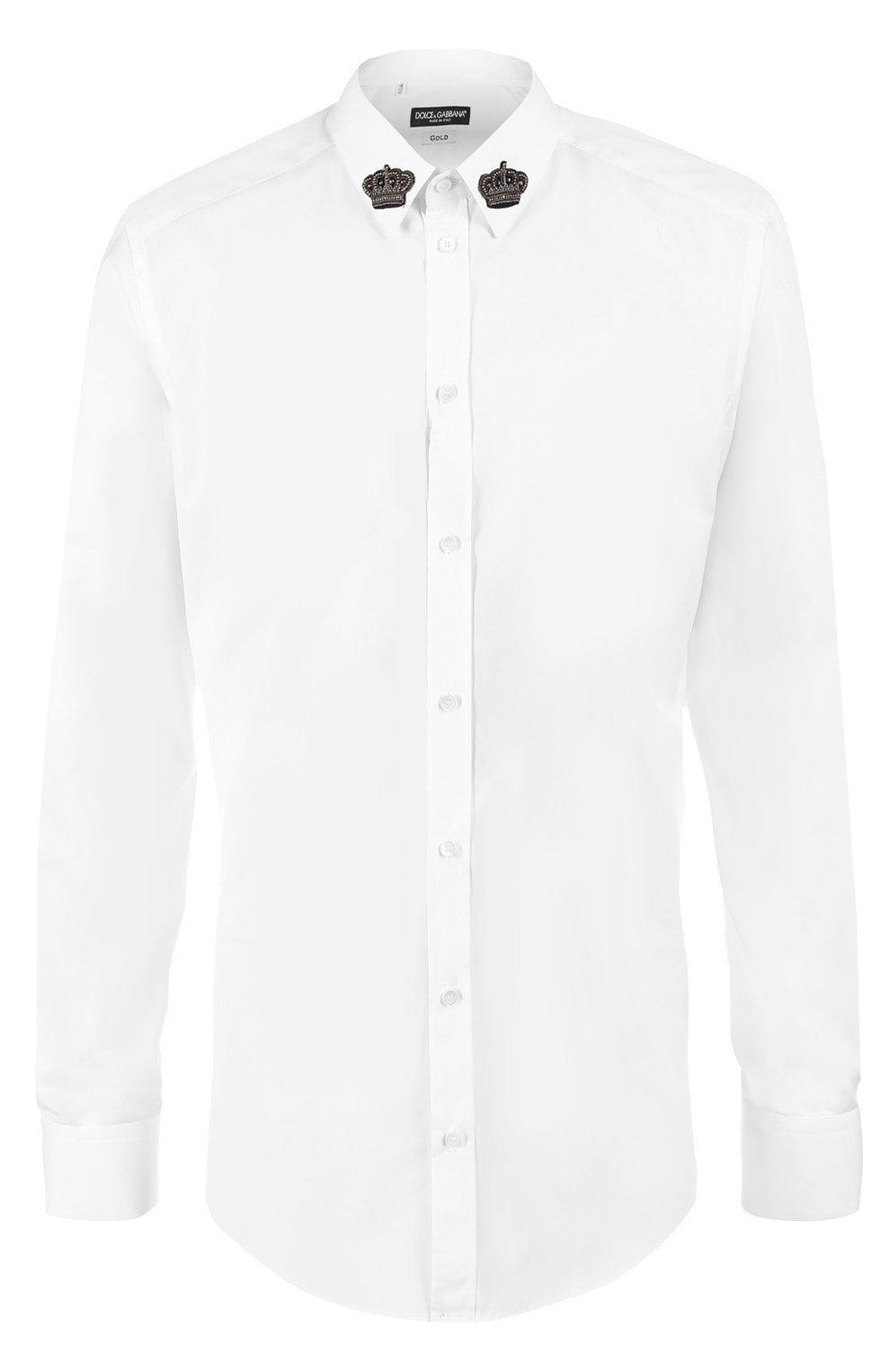 Хлопковая сорочка с вышивкой на воротнике | Фото №1