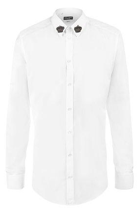 Хлопковая сорочка с вышивкой на воротнике Dolce & Gabbana белая | Фото №1