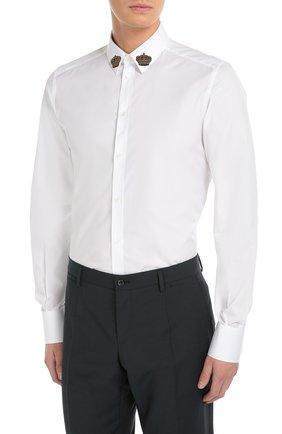 Хлопковая сорочка с вышивкой на воротнике Dolce & Gabbana белая | Фото №3