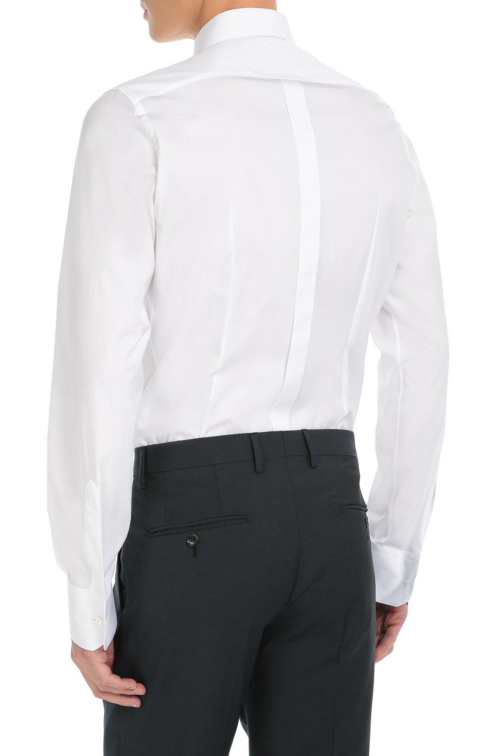 Хлопковая сорочка с вышивкой на воротнике Dolce & Gabbana белая | Фото №4