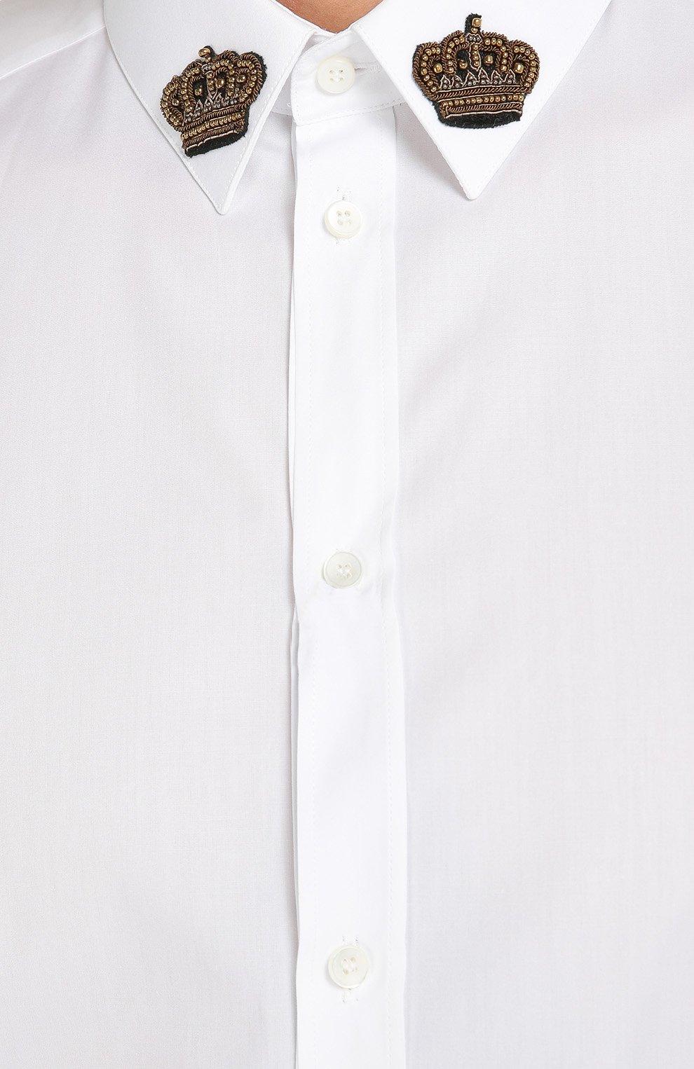 Хлопковая сорочка с вышивкой на воротнике Dolce & Gabbana белая | Фото №5